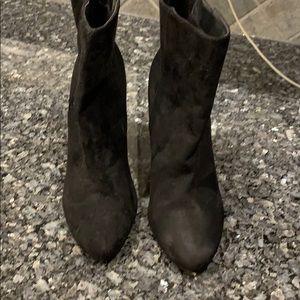 """Brand new, never worn black suede 3"""" zipup booties"""